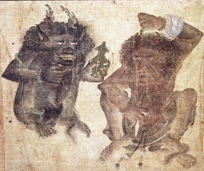 Demons, detail of album page, c. 1360-75, Topkapi Saray Library, Istanbul, H. 2153, f. 39b. Siāh-qalam (Siyah Qualem, Mehmet Siyah Kalem)