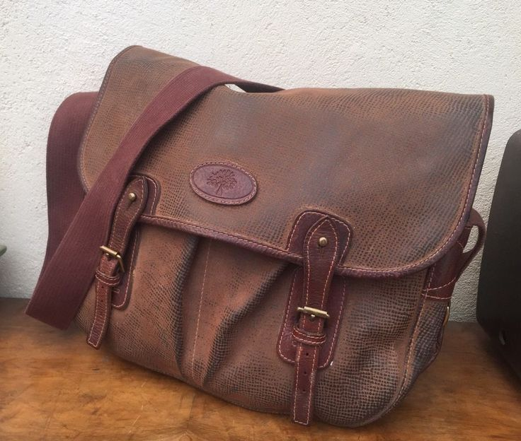 Authentic MULBERRY poachers SATCHEL man bag UNISEX trout laptop BROWN vintage