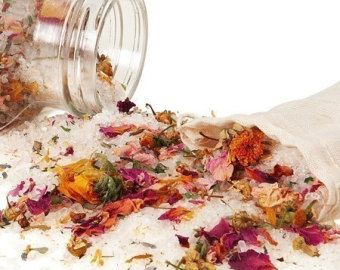 Flower Power Organic Bath Salts - Feminine Wellness Bath  Infused with Reiki - Vegan and Fabulous - Bathe in Flowers