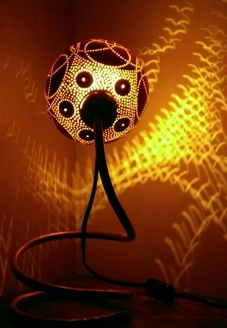 Gourd lamp on a copper stand