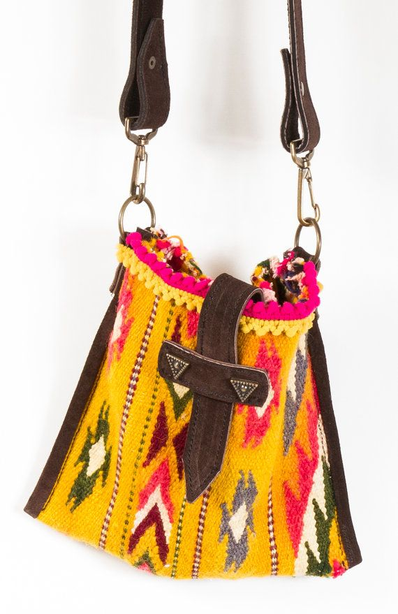 Boho+Kilim+Bag+with+Leather+Strap+Shoulder+Bag+Cross+by+NaliniShop,+$55.00