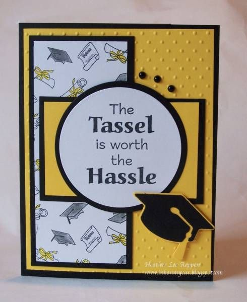 handmade graduation card ... black and white with yellow ... Stampin' Up!