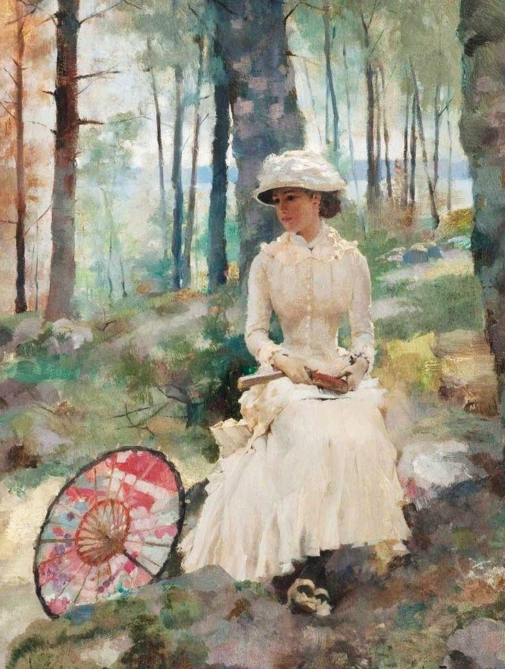 Under the Birches by Albert Edelfelt. #classic #art #painting
