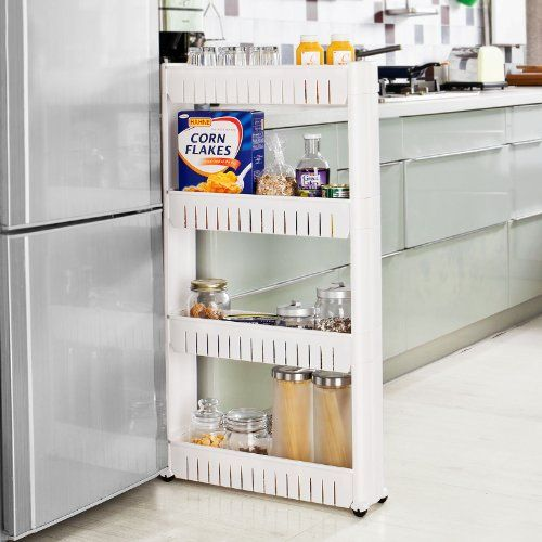 Modern designed kitchen storage cupboard with slides easily casters  Kitchen storage cupboard with casters, slide out storage tower,4 tiers   Article handy in t...