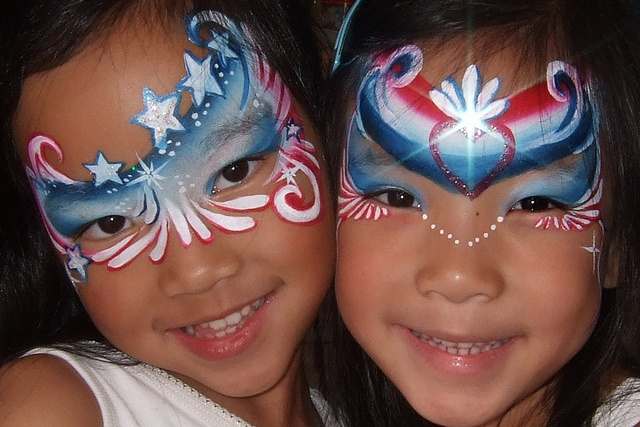 Face Painting - Patriotic Great inspiration for a rhinestone design on a gymnastics leotard!