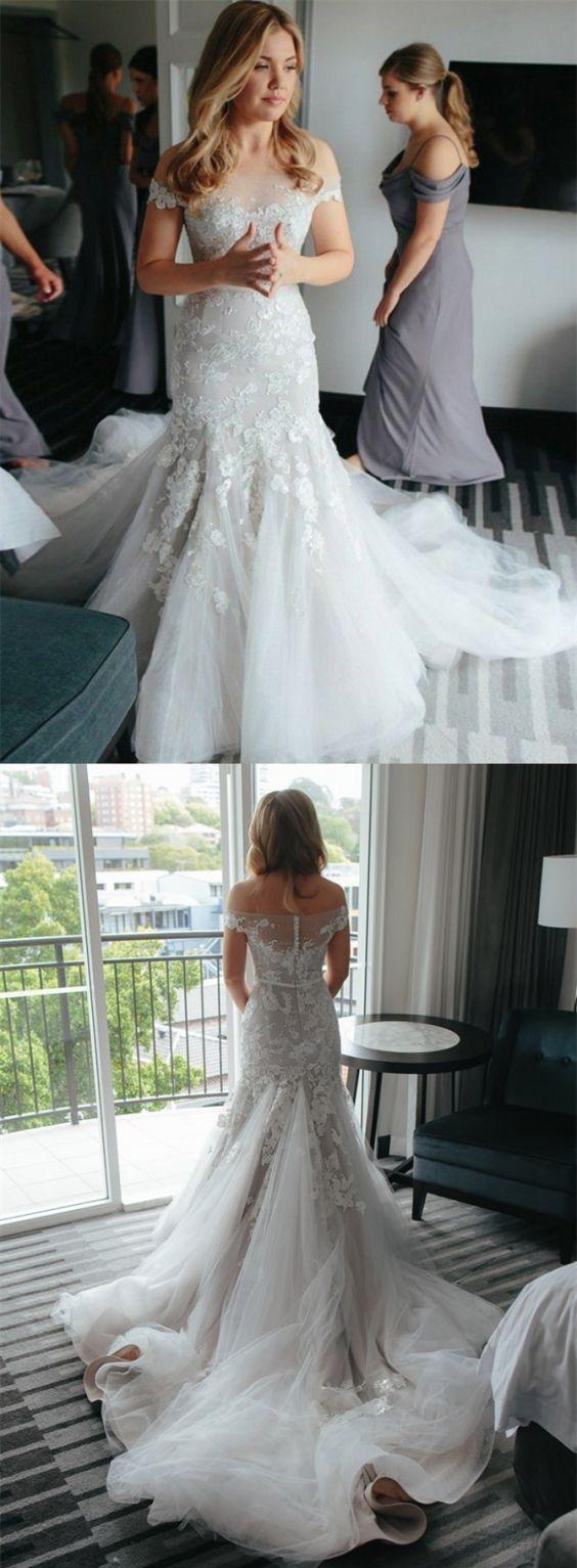 elegant off the shoulder mermaid wedding dress with court train, luxury off the shoulder mermaid bridal dress with appliques
