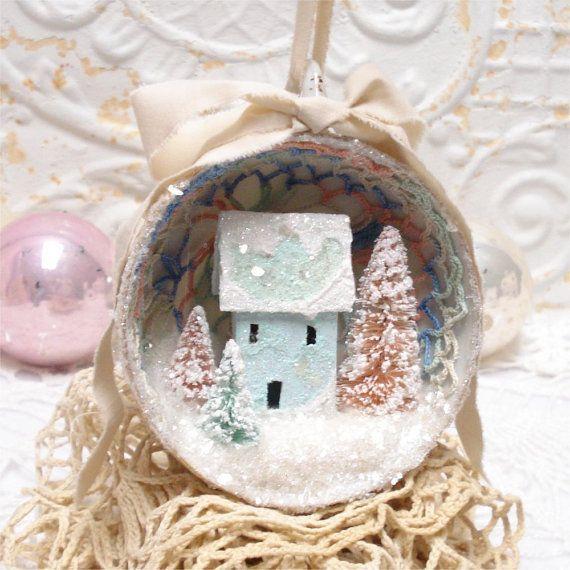 Tea Cup Ornament Putz House Seafoam Green by GumDropSugarShop