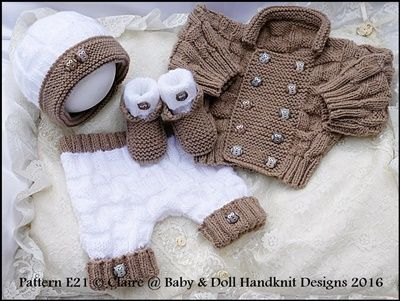 "Double Breasted Jacket Set 16-22"" doll/0-3m baby-knitting pattern, reborn, doll, baby, boy, babydoll handknit designs"