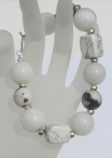"""Blingz the Thing Store - Just a little bold, a little edgy....make a statement with this fabulous bracelet featuring gorgeous white Onyx, Zebra stone and Howlite gem stones accented with sterling silver spacers and finished with a sterling silver toggle clasp. Length approx 8.5"""" size 7.5"""""""