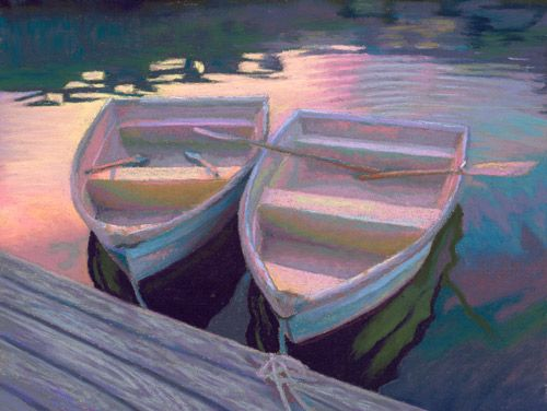 pastel painting: Wellfleet Dinghies at Sunset Pastel Painting by Poucher