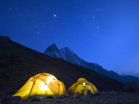 Illuminated Tents at Island Peak Base Camp, Sagarmatha National Park, Himalayas Photographic Print by Christian Kober at Art.com