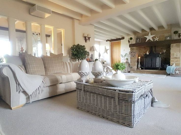 Country home Lounge Wicker trunks Grey tones