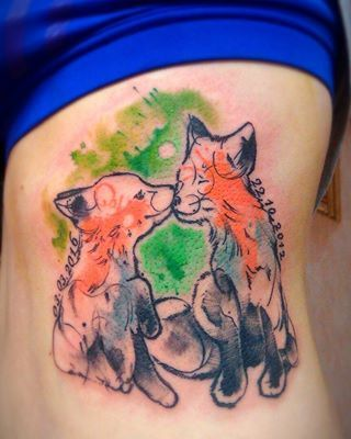 These friendly foxes. | 23 Tattoos For People Who Just Fucking Love Animals