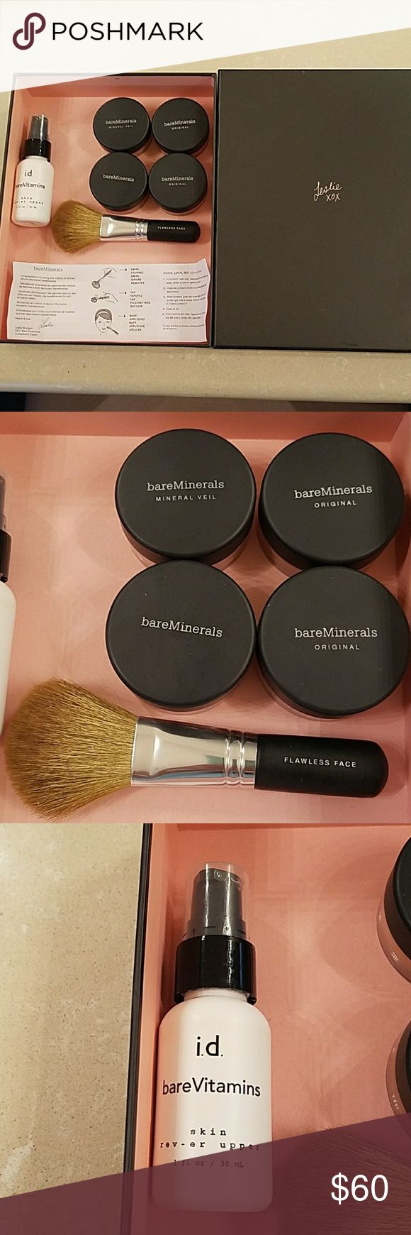 Bare Escentuals Starter Kit (4) Powders only used a few times (Tinted Mineral Veil, Warmth, Tan N30, Medium Tan C30), 1 Flawless Face Brush, 1 bottle bareVitamins  (skin rev-er upper, 1oz) with original box and basic instructions. Bare Escentuals Makeup Face Powder