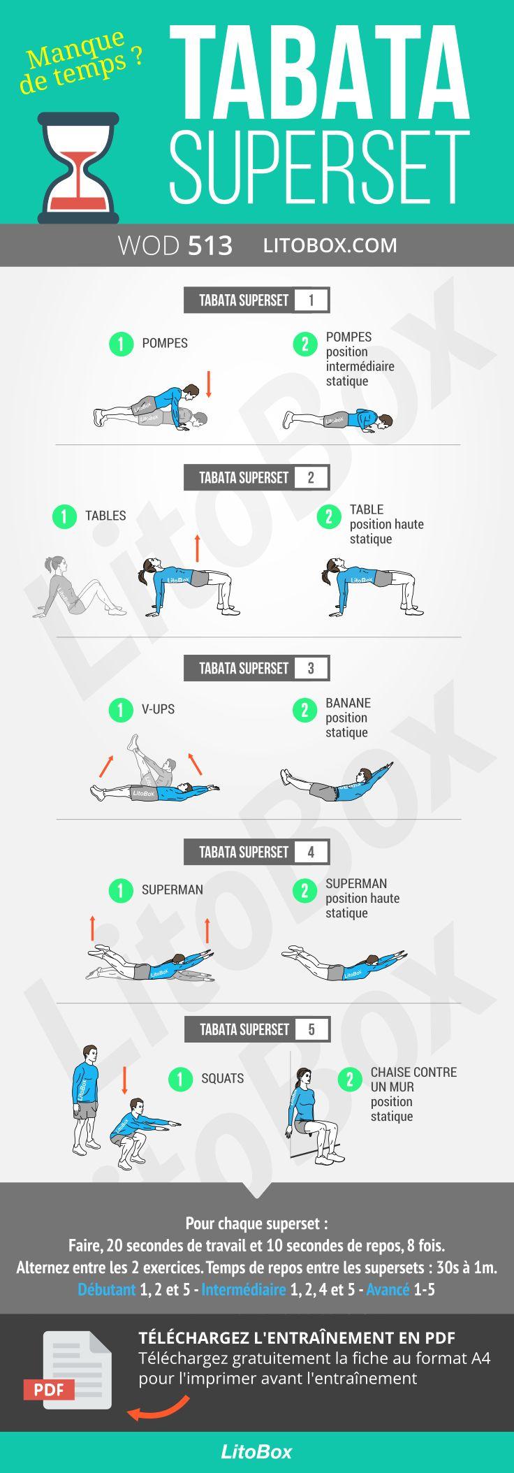 Tabata superset avec exercices dynamiques et statiques.