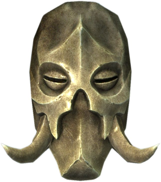"Konahrik ( in Dragon Language) is one of nine powerful dragon priest masks found in The Elder Scrolls V: Skyrim. Its name means ""Warlord"" in the Dragon language. Unlike the others, it is the only one without an associated dragon priest. The mask also has the highest base armor rating of all nine."