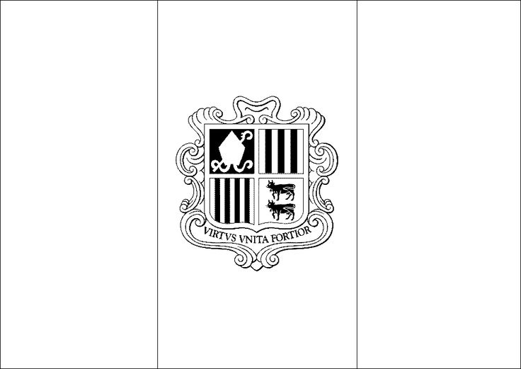 Andorra flag coloring picture