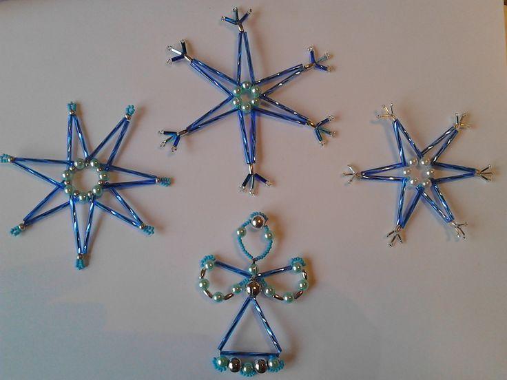 Vánoční ozdoby sada modro-stříbrná s andělem