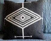 Navajo pillow, Pendleton tribal graphic pattern of wool Blanket weight fabric, black, white,  grey 14 x 14. $50.00, via Etsy.