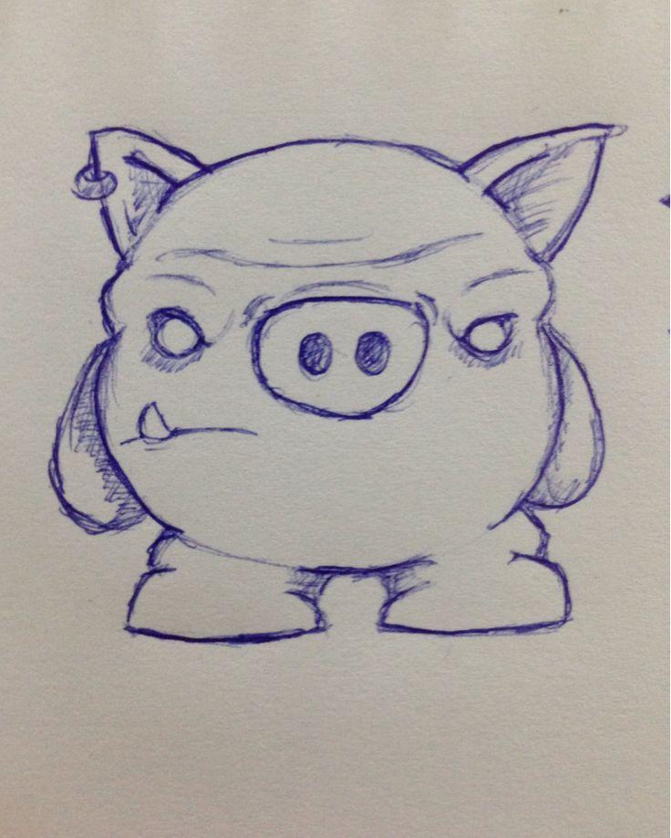 Рисунки свиньи прикольные карандашом поэтапно