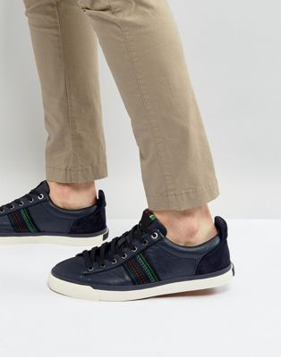 PS Paul Smith Seppo Leather Stripe Trainers in Navy