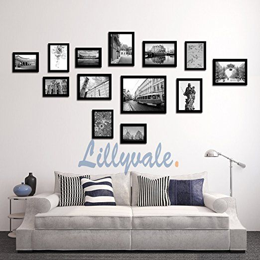 large multi picture photo frame frames wall set 13 pieces black