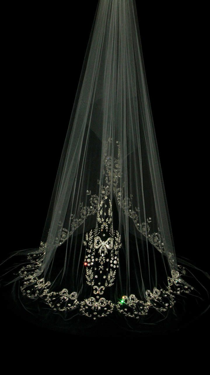 wow. . . so beautiful, but a bit too expensive.  Couture bridal or wedding veil - Alexandra. £860.00, via Etsy.