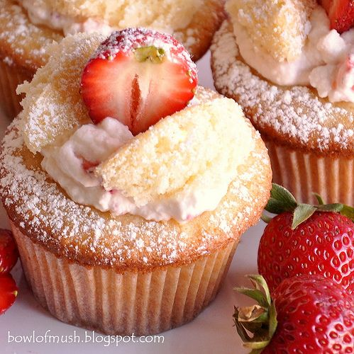 Strawberries & Cream Fairy Cakes. I made these with Strawberry icing instead and with yellow cake and angel food cake.