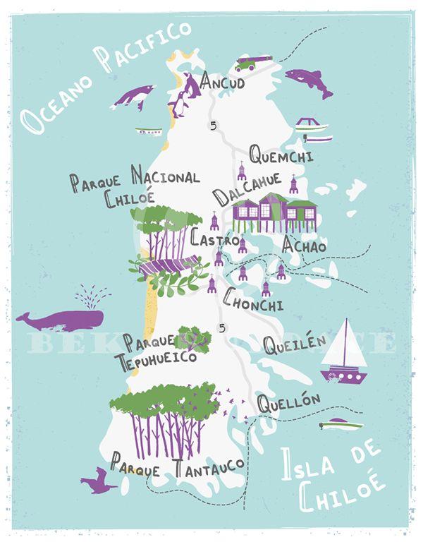 Illustrated map of Chiloe, Chile - Bek Cruddace
