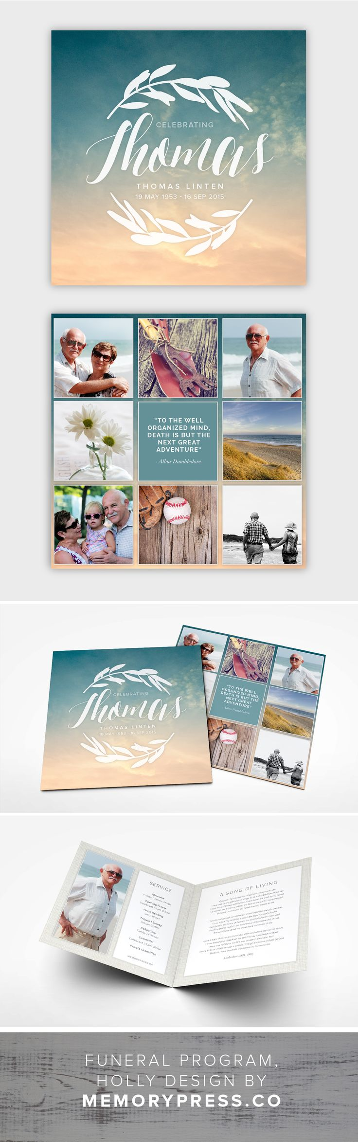 Holly funeral program template, ocean/beach theme. Customised by a professional Graphic Designer for only $99.90. Designed by Memory Press, available at memorypress.co