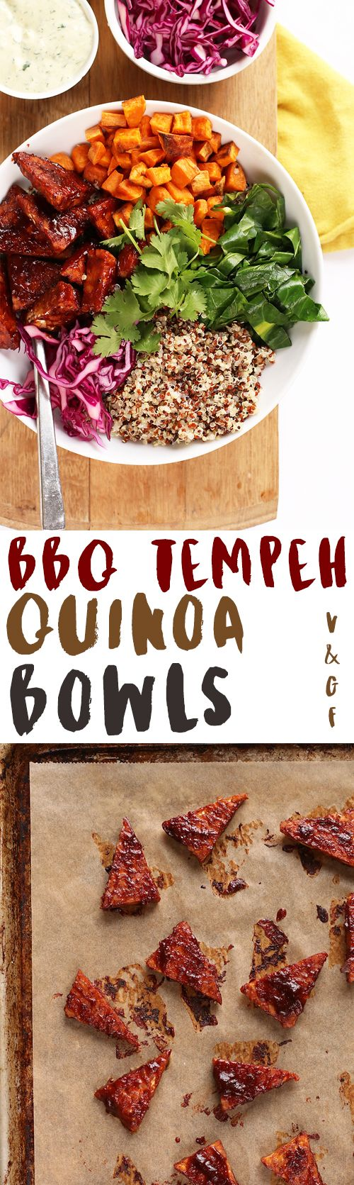 These vegan and gluten-free BBQ Tempeh Quinoa Bowls are filled with flavor, full of healthy benefits, and easy to make for a delicious weeknight meal.