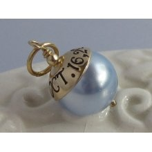 SOMETHING BLUE- Hand Stamped Custom Wedding Bouquet Charm- GOLD, ...