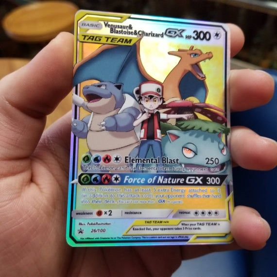 Shadow Trio Proxy Custom Pokemon Card in Holo Charizard Blastoise Venusaur