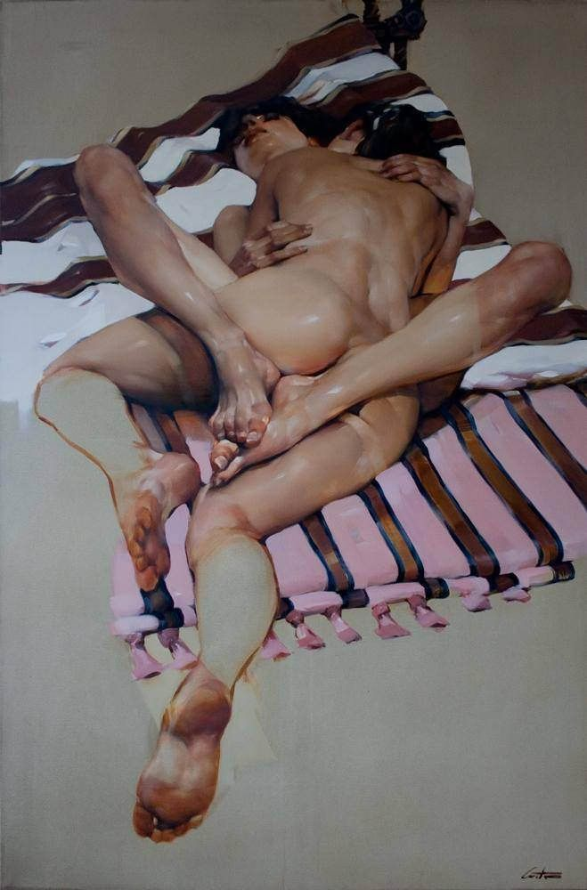 Costa Dvorezky paints human figures with broad, luxurious brushstrokes that leave traces of dripping paint throughout his work. Though characters are at the center, Dvorezky prioritizes his exp...