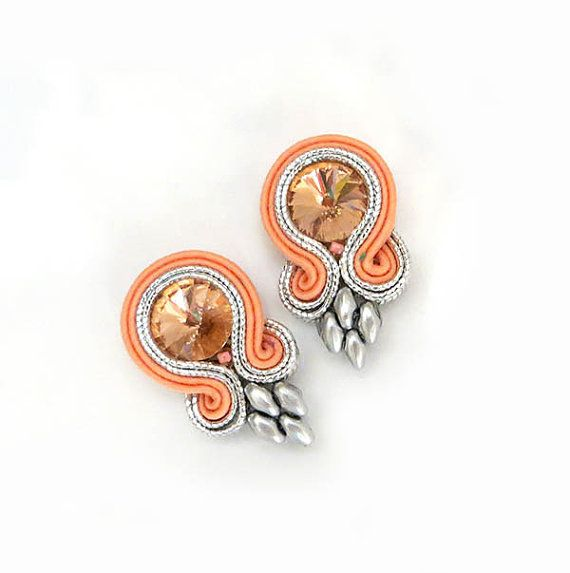 Small Coral Peach silver Soutache Earrings ellegant by sutaszula
