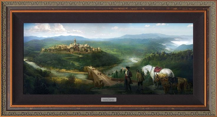 Beauty and the Beast - Gaston and Lefou's Arrival - Walt Disney Concepts - World-Wide-Art.com - #disney #disneyconcepts #beautyandthebeast2017