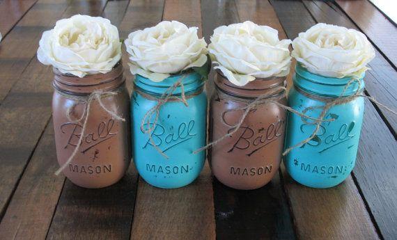Mason Jars, Decorative Mason Jars, Wedding Centerpieces, Teacher appreciation Gift, Coffee Table Home Decor, Turquoise and Brown Vases