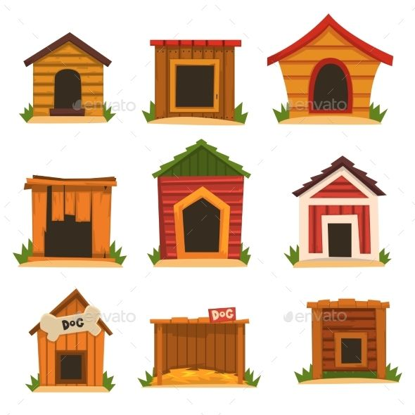 Wooden Dog House Set Dogs Kennel Cartoon Vector Vector Eps