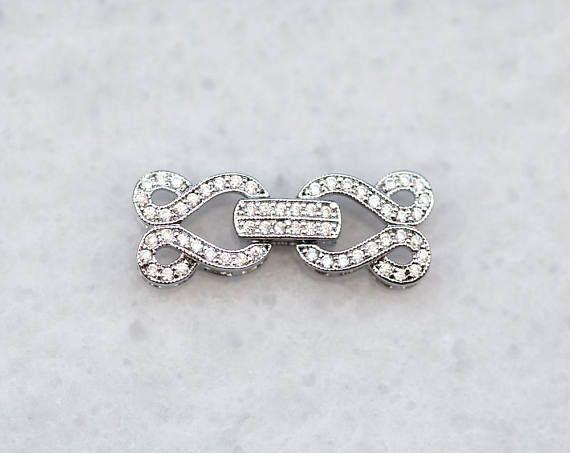 2859 Cubic zirconia clasp 27x10.5 mm Silver CZ clasp Fold