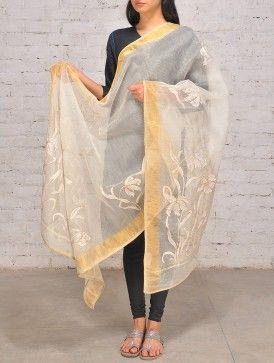 Ecru-Beige #Silk #Kantha #Dupatta #jaypore