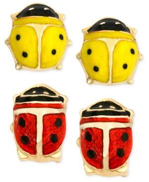 10k Gold Earrings Set, Red and Yellow Ladybug Stud Earrings
