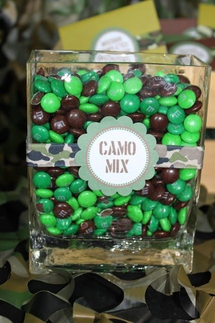 This would be the perfect way to get rid of extra small mason jars from the wedding...fill them up with camo M's and camo jelly beans, and give them to guest to take home!!!