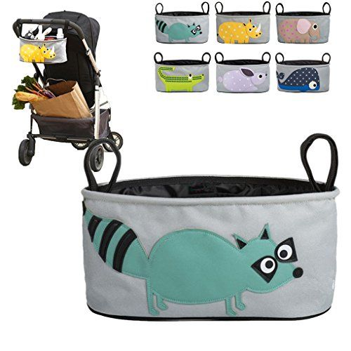 Baby Organiser for Pushchairs, Prams, Strollers, Buggies, Bikes and Back Car Seats, Premium Quality Diaper Bag with Bottle or Cup Holders, Racoon Pattern: Amazon.co.uk: Baby