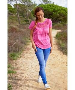 Cherokee Women's Pink Lace Insert Top - Size 10.