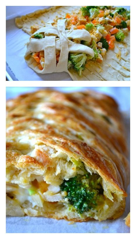 Broccoli & Chicken Braided Bread by Rachel Schultz    3 boneless, skinless chicken breasts, cooked  1 cup broccoli florets  1/4 cup onion, diced  1 bell pepper, chopped  1 garlic clove, minced  1 cup cheddar cheese, shredded  16 ounces crescent rolls (2 tubes)  3 tablespoons olive oil  1 egg  Salt & pepper