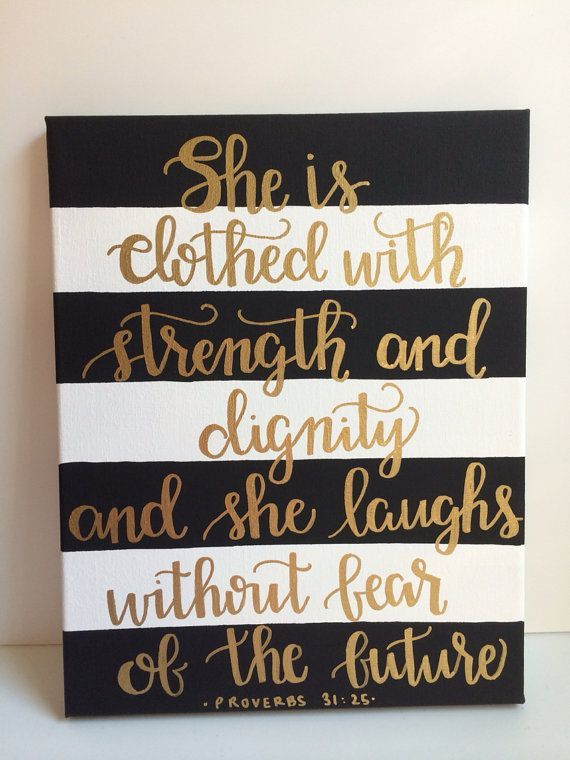 Preorder black she is clothed with strength and dignity proverbs bible verse canvas with metallic gold calligraphy
