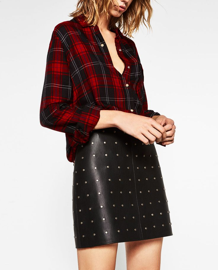 SHORT LEATHER-EFFECT SKIRT-View all-SKIRTS-WOMAN | ZARA United States