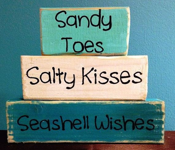 Sandy Toes Salty Kisses Seashell Wishes Hand Crafted Hand Painted Primitive Block Sayings Summer Beach Home Seasonal Personalized Home Decor...
