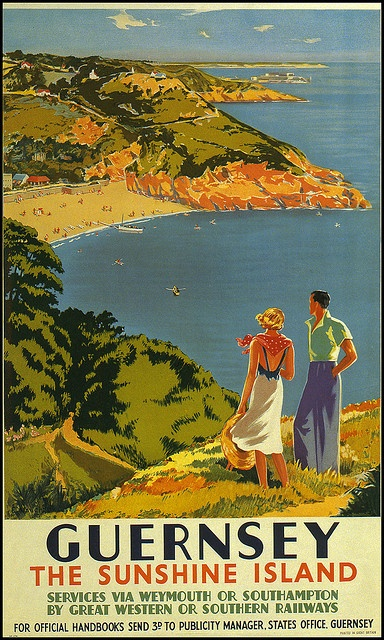 A vintage tourism advert for Guernsey, 'The Sunshine Island'...