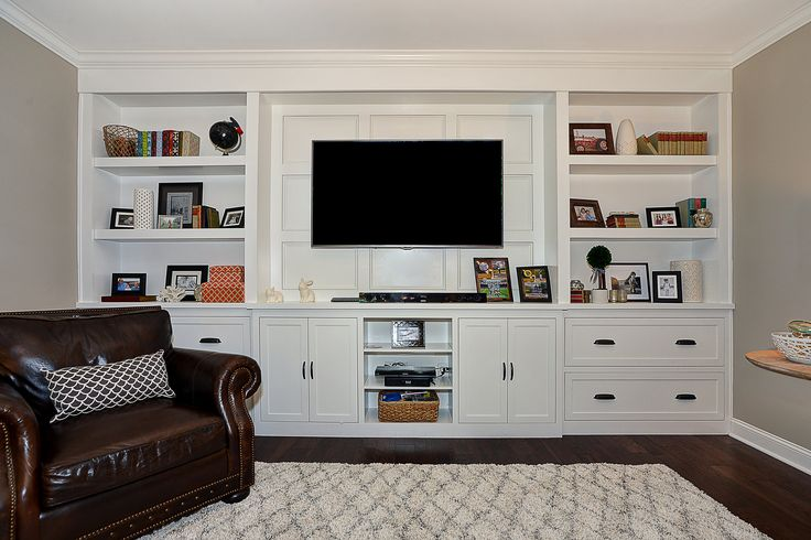 An elegant storage and display solution! This full wall built-in entertainment center provides a stylish space for all things electronic! This is a pe…